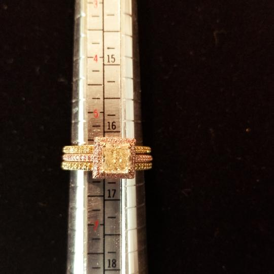 Boutique Europa 3 Rings Set Of Natural Fancy Yellow and Pink Diamonds. Size 52. Women's Wedding Band Image 7