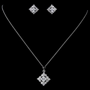 Elegance by Carbonneau Silver Sterling Cz Princess Cut Necklace and Earring Jewelry Set