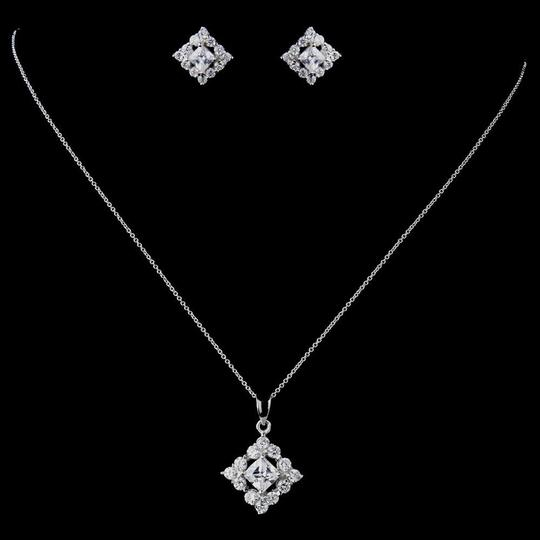 Preload https://img-static.tradesy.com/item/23559520/elegance-by-carbonneau-silver-sterling-cz-princess-cut-necklace-and-earring-jewelry-set-0-0-540-540.jpg