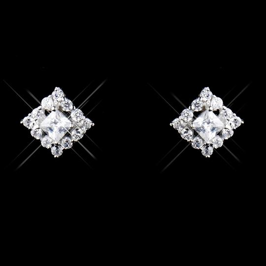 Elegance by Carbonneau Silver Sterling Cz Princess Cut Necklace and Earring Jewelry Set Image 1