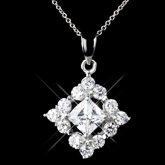 Elegance by Carbonneau Silver Sterling Cz Princess Cut Necklace and Earring Jewelry Set Image 2
