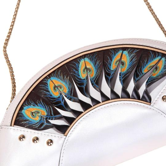 Bellorita Hand Tooled Hand Painted Leather Feather White Clutch Image 4