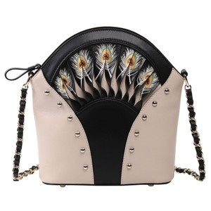 Bellorita Hand Tooled Hand Painted Leather Feather Shoulder Bag