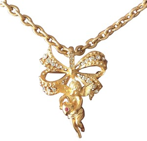Camrose & Kross Jackie Kennedy Crystal Gold Cherub Angel Necklace