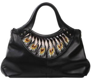 Bellorita Hand Tooled Hand Painted Feather Leather Tote in Black