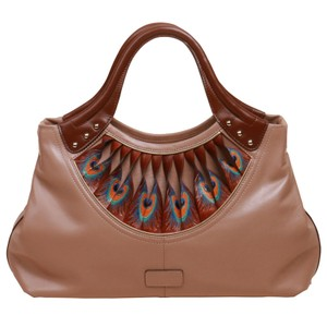 Bellorita Hand Tooled Hand Painted Leather Feather Tote in Brown