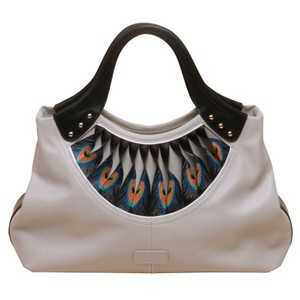 Bellorita Hand Tooled Hand Painted Feather Leather Tote in White
