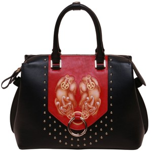 Bellorita Hand Tooled Hand Painted Leather Satchel in Black
