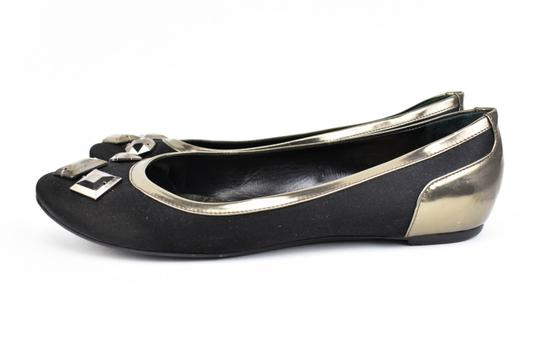 Burberry Satin Leather Ballet Gems Black Flats Image 1