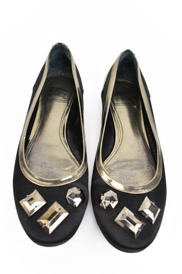 Burberry Satin Leather Ballet Gems Black Flats Image 2