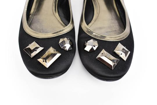 Burberry Satin Leather Ballet Gems Black Flats Image 3
