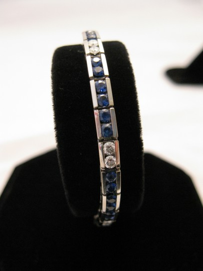 Boutique Europa 18 KT White Gold NATURAL Dimaonds and Sapphires Tennis Image 1