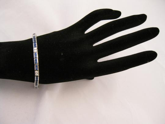 Boutique Europa 18 KT White Gold NATURAL Dimaonds and Sapphires Tennis Image 6