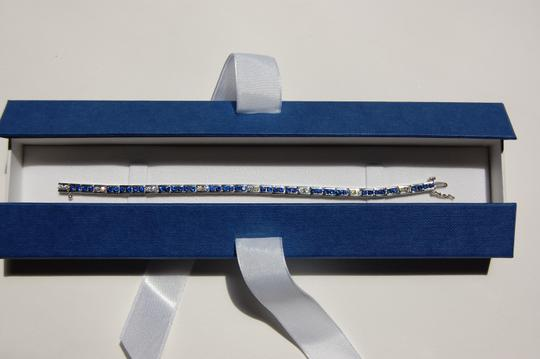 Boutique Europa 18 KT White Gold NATURAL Dimaonds and Sapphires Tennis Image 7
