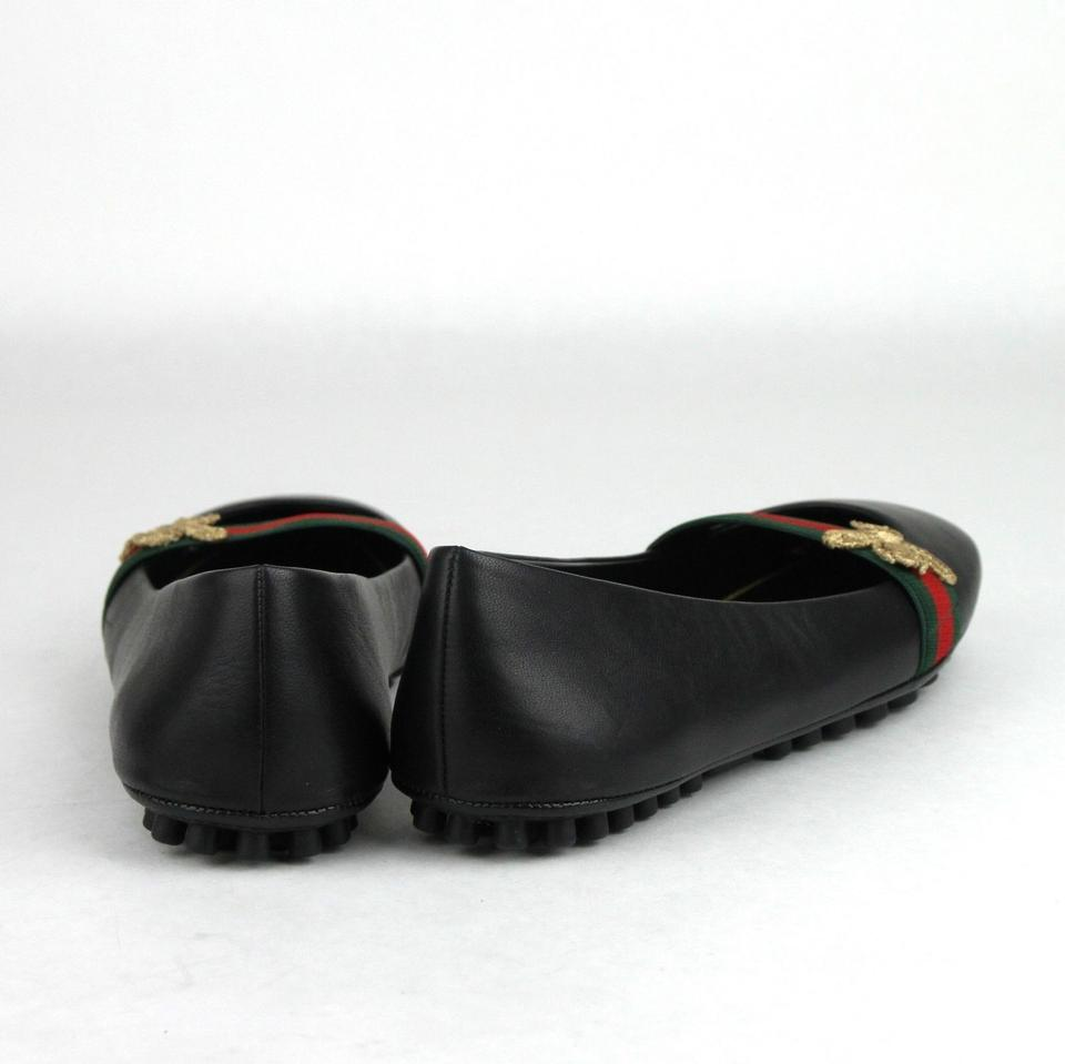 e960f71d958 Gucci Black Leather Ballet W Grg Band and Bee Logo 417668 1071 Flats ...