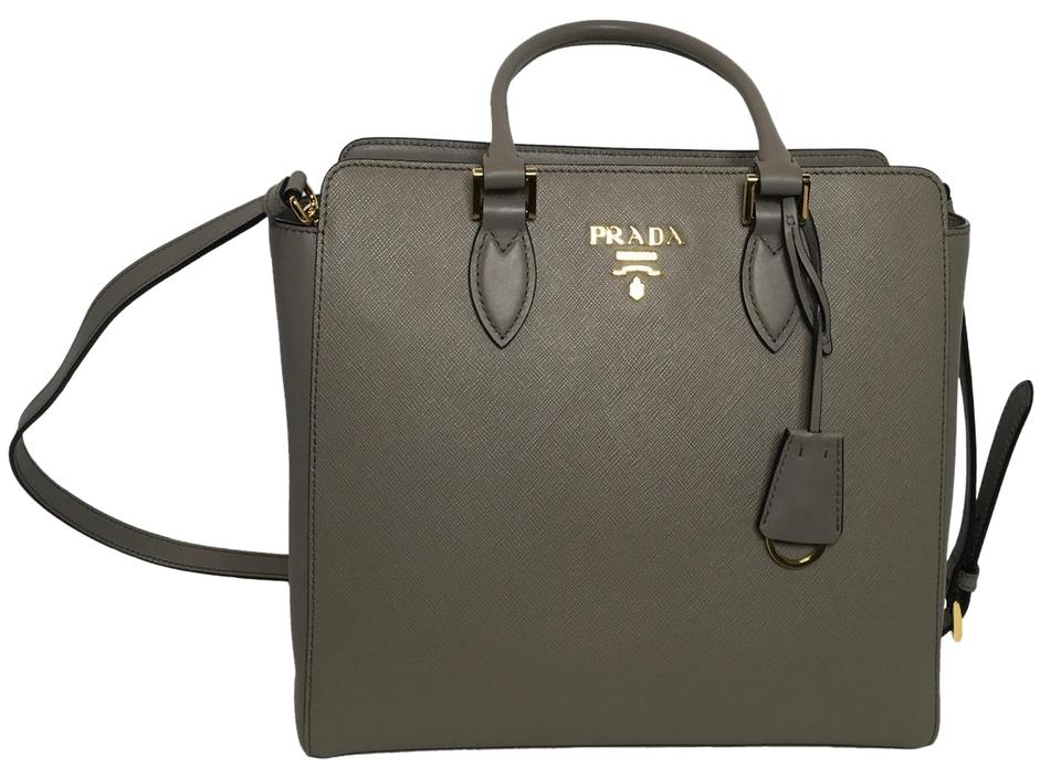 f6bceaeaca5b Prada Women's Saffiano Handbag 1ba189 Gray Leather Shoulder Bag ...