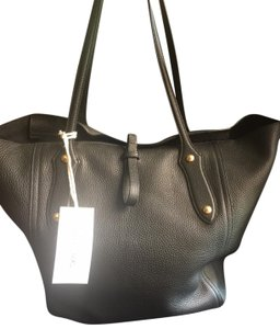Annabel Ingall Leather Gold Hardware Tote in black