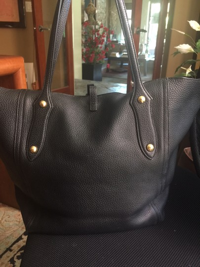 Annabel Ingall Leather Gold Hardware Tote in black Image 2