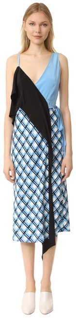 Item - Blue/Black 10225dvf/ Asymmetrical Ruffle Front Mid-length Casual Maxi Dress Size 2 (XS)