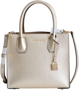 Michael Kors Mercer Leather Crossbody Gold Messenger Bag