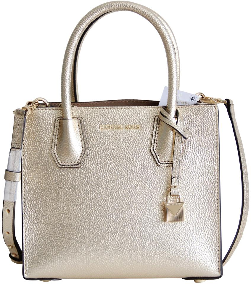 c362a362c575c9 Michael Kors Mercer Leather Crossbody Gold Messenger Bag Image 0 ...