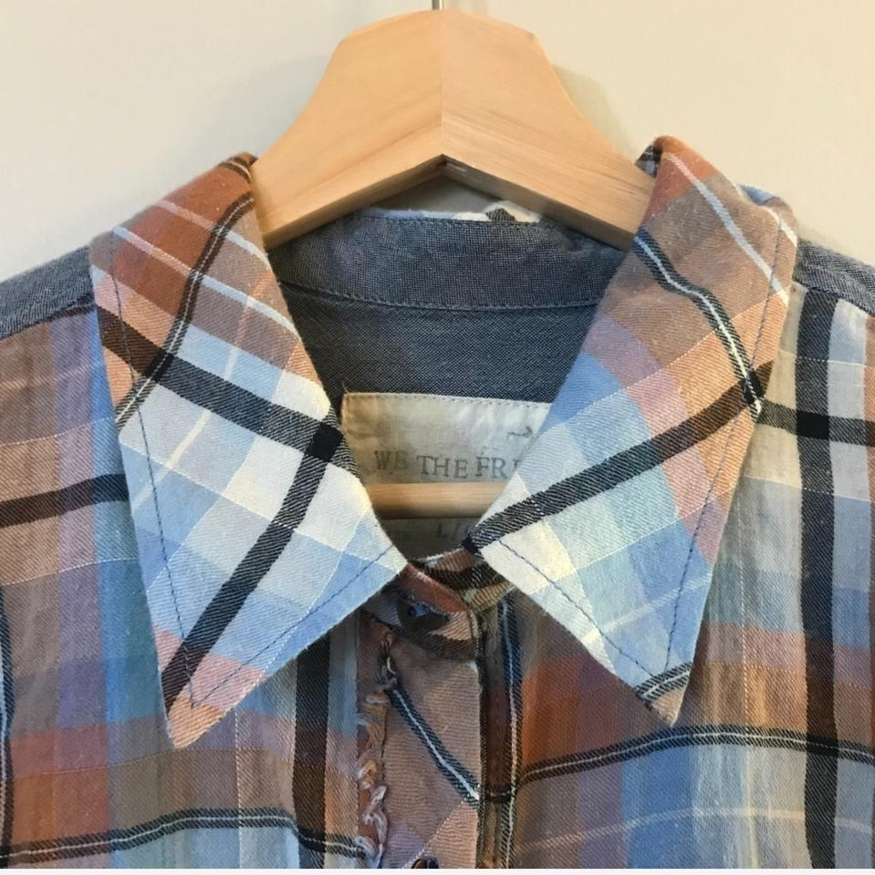 1935396757 Free People Orange Blue Chambray Plaid Flannel Button-down Top Size 12 (L)  - Tradesy