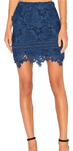 Lovers + Friends Lace Mini Scalloped Hem Mini Skirt Navy
