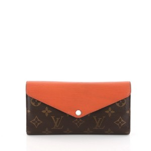 Louis Vuitton Canvas Leather Wallet Wristlet in brown and piment orange