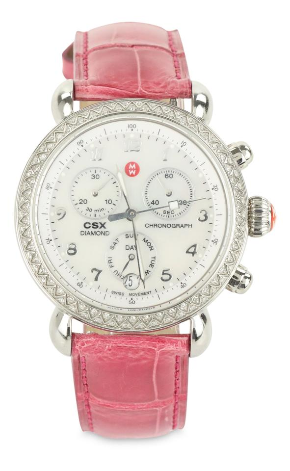 Michele Multicolor Csx 36 Diamond Pink Alligator Strap Watch 56 Off Retail