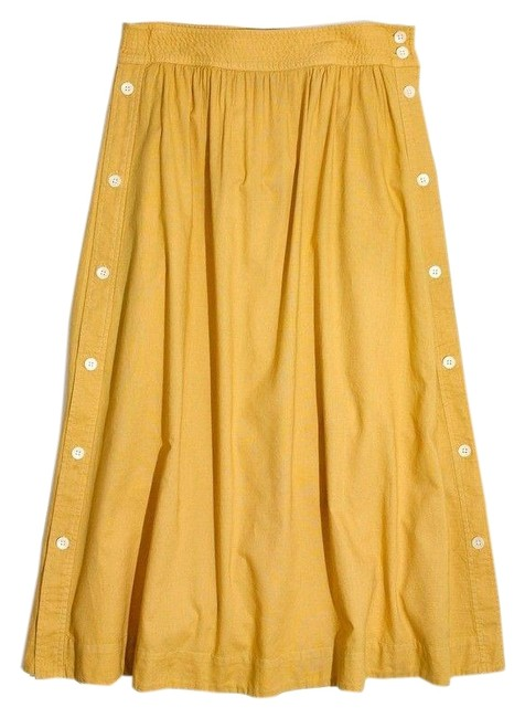 Item - Yellow Side-button Skirt Size 4 (S, 27)