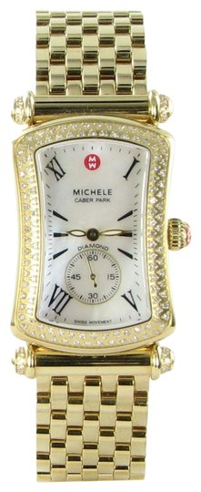 Michele Michele Caber Park Gold Diamond Bezel Mother of Pearl Dial Watch Image 0