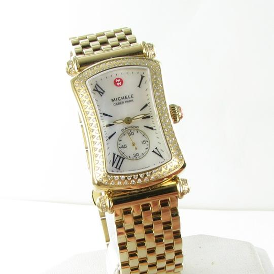 Michele Michele Caber Park Gold Diamond Bezel Mother of Pearl Dial Watch Image 1
