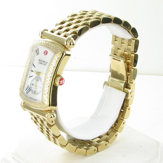 Michele Michele Caber Park Gold Diamond Bezel Mother of Pearl Dial Watch Image 2