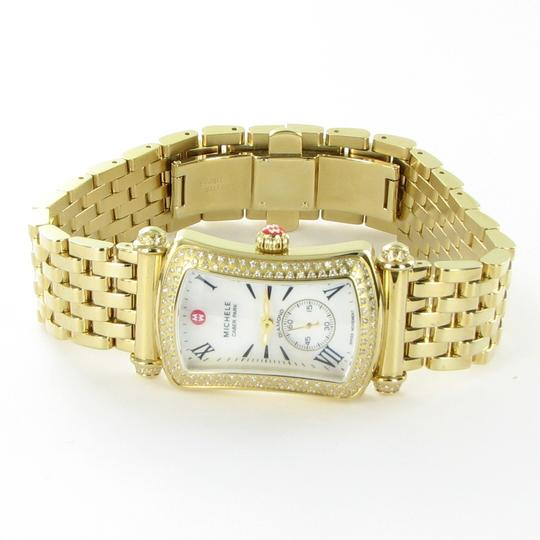 Michele Michele Caber Park Gold Diamond Bezel Mother of Pearl Dial Watch Image 3