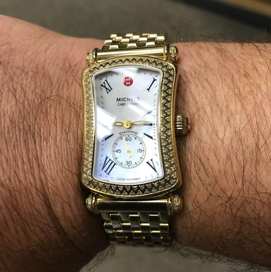 Michele Michele Caber Park Gold Diamond Bezel Mother of Pearl Dial Watch Image 7