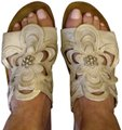Naot Leather Silver Floral Champagne Sandals Image 0