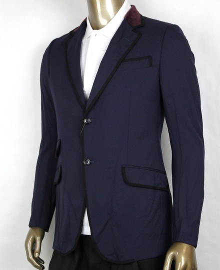 Gucci Blue W Poly/Wool/Elastane Formal Jacket W/2 Buttons It 46r/Us 36r 398952 4873 Groomsman Gift Image 2