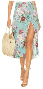 Show Me Your Mumu Slit In Wrap Skirt Blue Floral