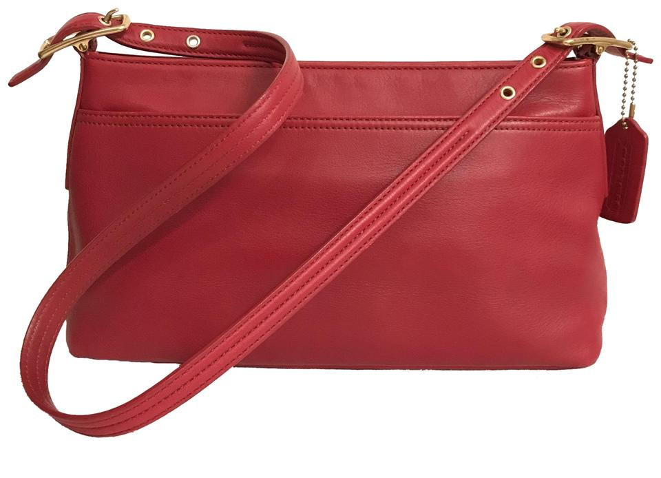 92524bd2b2 Coach Vintage Legacy 9861 Red Gold Leather Shoulder Bag - Tradesy