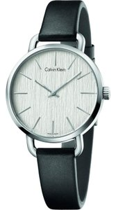 Calvin Klein K7B231C6 Women's Black Leather Band With Silver Analog Dial Watch