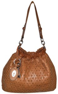 Fossil Refurbished Cognac Brown Leather Euc Lined Hobo Bag