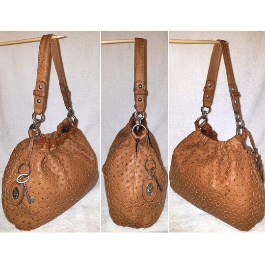 Fossil Refurbished Cognac Brown Leather Euc Lined Hobo Bag Image 2