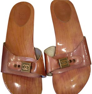 e22094a51aff Chanel Patent Leather Wood Slide Pink Sandals