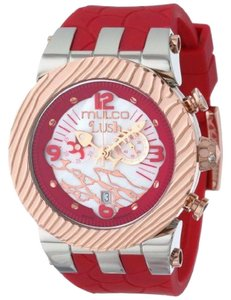 Mulco MW52365063 Unisex Red Silicone Band With White Analog Dial Watch