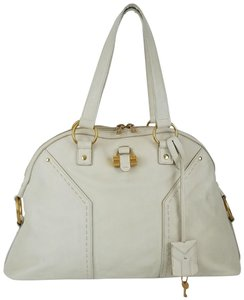 Saint Laurent Ships In 24 Hours Ysl Muse Ysl Muse Ysl Domed Satchel in Ivory