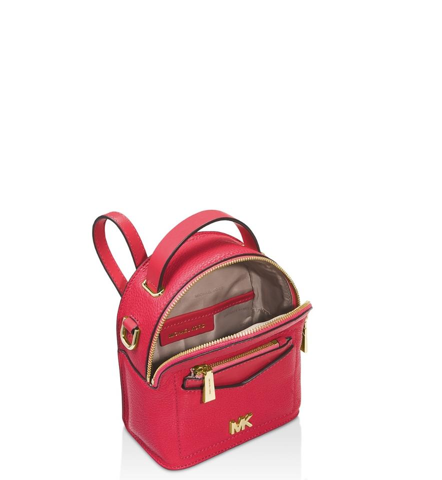 6717599fd Michael Kors Jessa X Small Convertible Deep Pink Gold Leather Backpack -  Tradesy