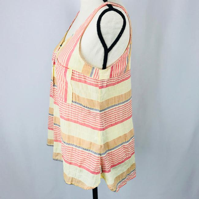 Woolrich Top Stripes of pastel colored reds, blues, oranges, and light yellows. Image 1