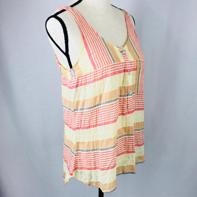 Woolrich Top Stripes of pastel colored reds, blues, oranges, and light yellows. Image 4