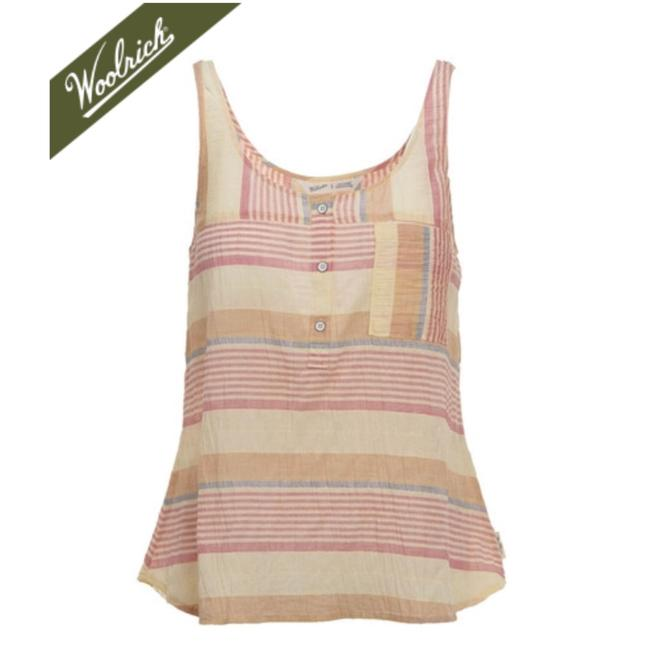 Woolrich Top Stripes of pastel colored reds, blues, oranges, and light yellows. Image 6