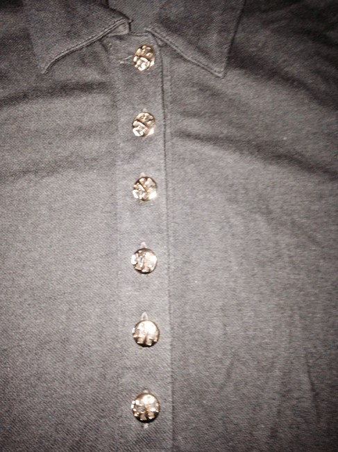 Tory Burch Polo Stretch Designer Traditional Everyday Casual Brass Buttons Tops Casual Tops Polo Sleeve Tops Tops T Shirt Brown
